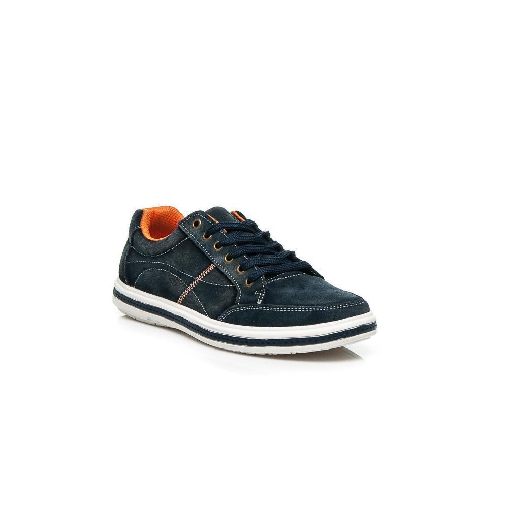 Мъжки спортни обувки от естествена кожа сини Mazaro - Полша