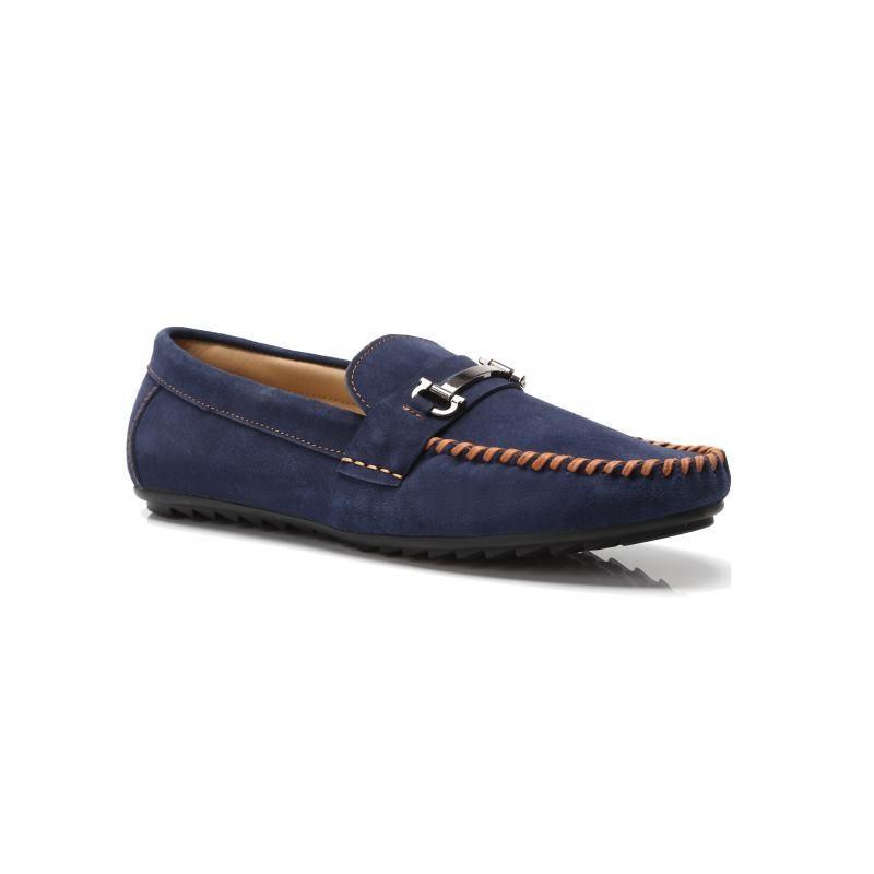 Мъжки обувки от естествена кожа сини Mazaro - Полша